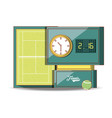 tennis scoreboard with ball vector image