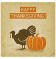 thanksgiving greeting card old background vector image