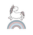 unicorn on rainbow vector image