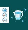water filter jug pitcher cartoon vector image vector image