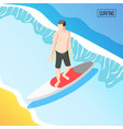 water sports isometric background vector image vector image