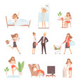 woman daily routine lifetime mother business vector image