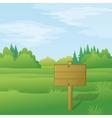 Wood sign on summer landscape vector image vector image