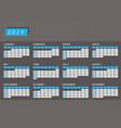 year calendar 2019 in horizontal design vector image vector image