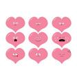 cute heart shape emoji set funny kawaii cartoon vector image