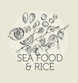 concept hand drawn sea food elements vector image