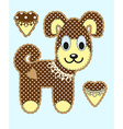 Cute cartoon dog in flat design for greeting card vector image