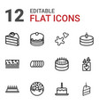 12 cake icons vector image vector image