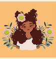 afro american woman cartoon flowers foliage vector image vector image
