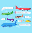 airplane with banner flying ad aeroplane vector image vector image