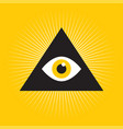All seeing eye inside triangle pyramid vector image