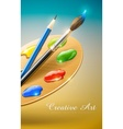 art palette with paint brush vector image vector image