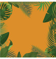 background with realistic green palm leaf branches vector image