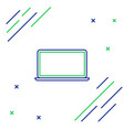 blue and green line laptop icon isolated on white vector image vector image