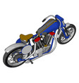 blue vintage chopper motorcycle on white vector image