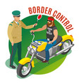 border control isometric composition vector image vector image