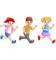 cartoon happy kids running together vector image vector image