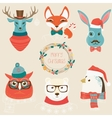 Christmas cute forest animals heads logo set vector image