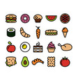 collection of colourful food icons vector image vector image