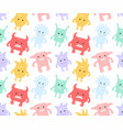 colorful seamless monsters pattern vector image vector image
