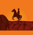cowboy on horse desert sunset vector image