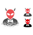 damaged dotted halftone devil icon vector image vector image