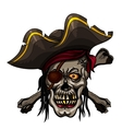 Danger pirate skull in red bandanna and crossbones vector image