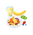 delicious healthy breakfast consisted of nuts and vector image vector image