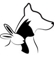 dog and cat silhouettes logo vector image vector image