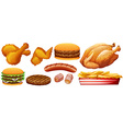 Fast food junk on white vector image vector image