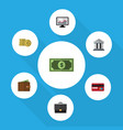 flat icon finance set of cash billfold bank and vector image vector image