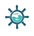 fresh fish showroom emblem with steering wheel and vector image vector image