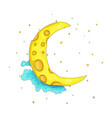 fun cartoon yellow crescent moon among the clouds vector image vector image