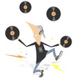 funny man in headphones isolated vector image