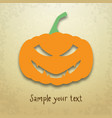 halloween card with sly pumpkin vector image vector image