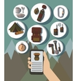 Hand and Mobile Phone Online Booking Icons Hotel vector image vector image