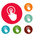 hand cursor click icons circle set vector image