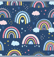 hand drawn rainbow in cartoon scandinavian vector image