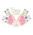 happy easter label with eggs and flowers icon vector image