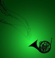 Horn with Musical Symbols vector image vector image