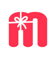 initial m gift logo vector image vector image