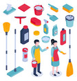 isometric cleaning housework set vector image vector image