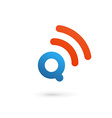 Letter Q wireless logo icon design template vector image vector image