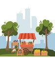 local market stall place with fresh foods farm vector image