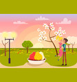 man in love holding blonde woman on sunset in park vector image vector image