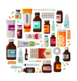 medicine pharmacy concept drug medication set vector image vector image
