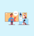 mix race people chatting during video call vector image vector image