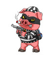 mugger pig with cigarette on its mouth vector image
