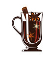 mulled wine in glass isolated icon vector image