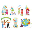 people in peace world kids on planet earth vector image vector image
